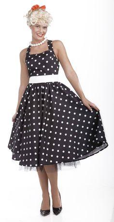 50's Black & White Dot Dress Costume w/ Crinoline Adult