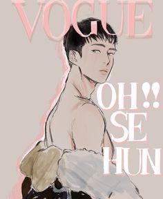 Cre: the owner/as logo Sehun, Dad Of The Year, Exo Anime, Exo Fan Art, Kpop Drawings, Drawing Studies, Kpop Fanart, Art Sketchbook, Digital Illustration