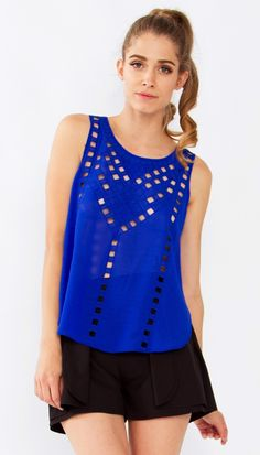 Jasper Cutout Top*  Blue tank top with all over cutouts in the front.