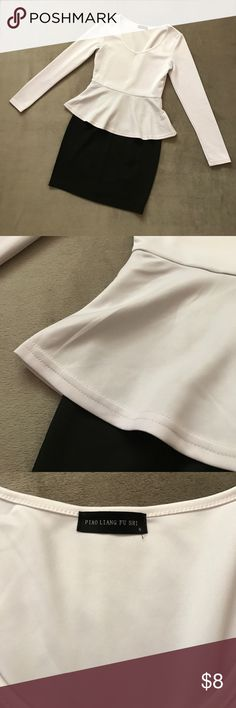 """Peplum V-Neck Dress Versatile one-piece peplum top and skirt combo!  Worn twice and washed.  Comes with optional belt that can be tied in front or back.  Measures approximately 15"""" from underarm to underarm lying flat and 30.5"""" from shoulder to bottom hem.  Material is slightly stretchy.  Please 👀 pics for condition.  There are a couple of very faint marks at left sleeve (4th pic), but I have not tried vigorously to remove.  Price is firm unless bundled. Dresses"""