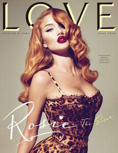 Rosie Huntington-Whiteley en couverture du magazine Love.