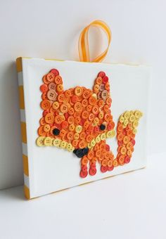 Button Art Animal Fox Orange Wrapped Canvas by HydeParkHome Fox Crafts, Diy And Crafts, Crafts For Kids, Arts And Crafts, Button Flowers, Button Crafts, Diy Wall Art, Quilling, Wrapped Canvas