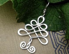Celtic Tree Sterling Silver Pendant -Christmas Tree Wire Necklace - Celtic Jewelry - LoveItSoMuch.com