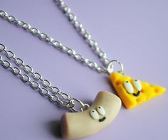 Mac and Cheese Friendship Necklaces by ClayRunway on Etsy, $22.00