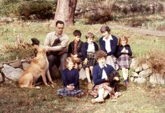 At Hawk Barrow- Rogue, the mastiff, Jack, holding Binker, Peter ,Barby, Doreen and Kate; Peggy and Ann, with Socks, the cocker spaniel , in front. Mid 1950s.