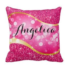 Dreamy Bokeh Bling Swoop Monogram By ArtStudioPillows Pink Throw Pillows, Designer Throw Pillows, Bed Pillows, Bokeh, Custom Pillows, Art Studios, Your Design, Monogram, Bling