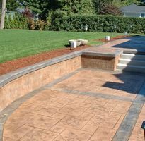 Stamped Concrete Patios Like The Pseudo Bench Retaining Walls