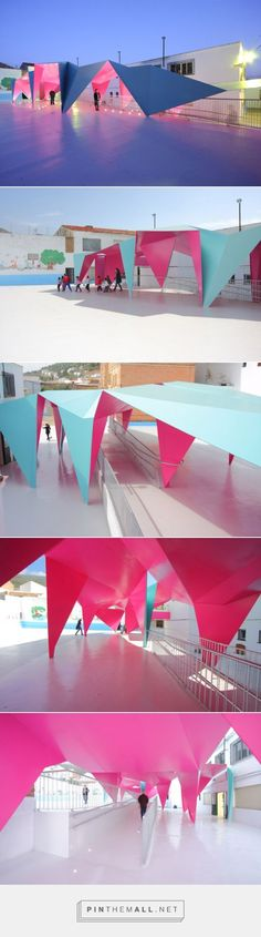Julio Barreno Gutiérrez erects steel awning over a playground. - a grouped images picture - Pin Them All Temporary Architecture, Landscape Architecture, Interior Architecture, Architecture Diagrams, Architecture Portfolio, Chinese Architecture, Urban Landscape, Landscape Design, Pavillion