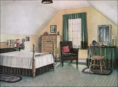 A 1920s House Decorating | An attic bedroom. Did you notice a chair is almost always pictured? I ...