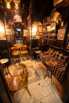 El-Fishawi Cafe in Old Cairo - by Denis Cherkashin Pub Interior, Cafe Interior Design, Pub Design, Coffee Shop Design, Cafe Bar, Cafe Restaurant, Restaurant Design, Irish Pub Decor, Speakeasy Bar