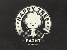 Happy Tree Paint Vintage Fantasy Logo by Mathias Temmen