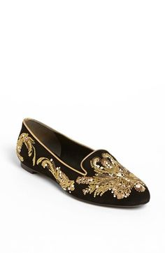 SMOKING SHOE. $895. Alexander McQueen Embroidered Flat available at #Nordstrom
