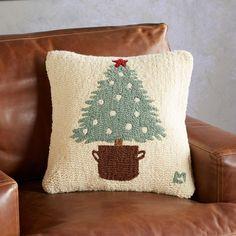 O Christmas Tree Pillow - Sundance. Christmas Punch, Christmas Tree, Country Christmas, Bird Pillow, Punch Needle Patterns, Felt Tree, Christmas Embroidery, Festival Lights, Scandinavian Christmas