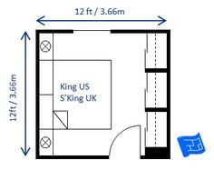 Small bedroom design for a king size bed (superking UK). The clearance around the bed and in front of the wardrobes is at the minimum recommended clearance.  Sliding doors on the wardrobes are essential to make this scheme workable.