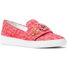 Michael Kors Collection Henna Embellished Slip On Sneakers ($345) ❤ liked on Polyvore featuring shoes, sneakers, flats, azalea pink, slip-on shoes, flats sneakers, embellished flat shoes, michael kors trainers and slip-on sneakers