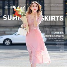 ชุดเดรสยาว ผ้าชีฟองสีชมพู เย็บตัดต่อกับผ้าลูกไม้ลายใบไม้สีชมพู รหัสสินค้า SC5454 ราคา 660 บาท (line) thaishoponline