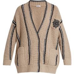 Brunello Cucinelli Embellished striped wool-blend cardigan (49 255 UAH) ❤ liked on Polyvore featuring tops, cardigans, maxi cardigan, oversized tops, striped tops, cardigan top and striped cardigan