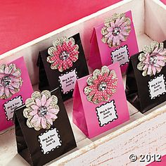 Mini Favor Bags  24 pcs $4.25 need to add your own decorations - many colors available 6 1/2 X 2 1/4 X 3 1/2 Oriental Trading