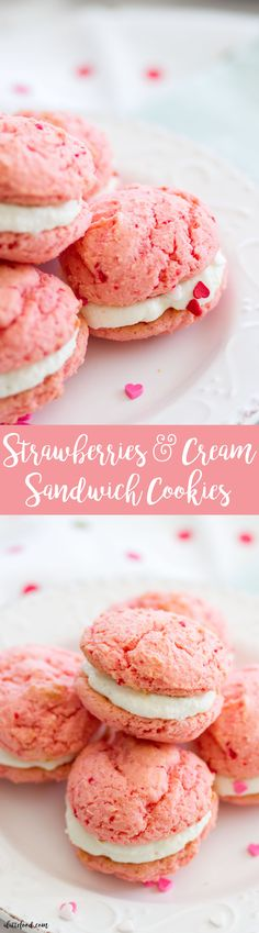 These strawberry sandwich cookies are filled with sweet marshmallow cream cheese frosting! These easy cake mix strawberry cookies are only 3-ingredients, and the frosting is only 2-ingredients! You can't beat these pretty strawberries and cream sandwich cookies for a Valentine's Day dessert or spring dessert!