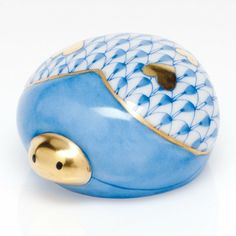 """Herend Hand Painted Porcelain Figurine """"Love Bug"""" Blue Fishnet Gold Accents."""