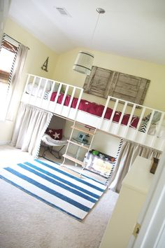 Complete DIY guide on how to build a loft bed. Basically a box on top of 4 posts with two twin beds pushed together on top. Such a cute kids room idea to save space :).