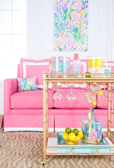 **Instructions to order the Lilly Pulitzer x Society Social bar cart!** To order, please head to www.LillyPulitzer.com or email our team at contact@shopsocietysocial.com - We'd be happy to help you! Well. I have the most exciting news in Society Social history!  We collaborated withLILLY PULITZERon an exclusive,one of a kind,limited editionSOCIETY SOCIALbar cart! The print above is an original from their print studio (I shall cherish it forever and ever!) and I was so excited to receive i...