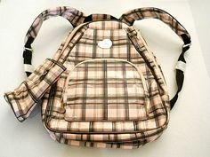 Whak Sak Tennis Racquet Sport Fitness Tote Backpack Pink Brown & Black Plaid  #WhakSak