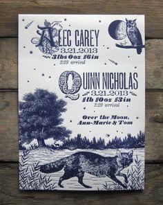 Night Fox & Owl Custom Design Letterpress Birth Announcements