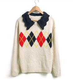 Peter Pan Collar Rhombus Pattern White Sweater