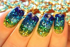 Ocean and Sand Teeny Tiny Glitter Mermaid Nails! (Polish All The Nails) Colorful Nail Designs, Nail Art Designs, Different Types Of Nails, Water Marbling, Mermaid Nails, Nails Inspiration, Glitter Nails, Nail Colors, Polish