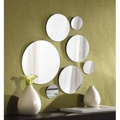 Wall Mount Mirror Set Of 7 Round Glass Bathroom Mirrors Home Decor Variable Size Mirror Decal, Wall Mirrors Set, Home Decor Mirrors, Round Wall Mirror, Wall Mounted Mirror, Mirror Set, Round Mirrors, Glass Mirrors, Circle Mirrors