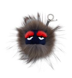 "BUGGIE ""FUR FREAK""Gray, blue and pink Bag Bugs fox fur charm with matching leather cord. Made in Italy"