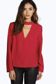 Una Open Neck Detail Long Sleeve Blouse at boohoo.com