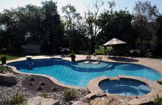 Inground Swimming Pools Gallery - Arista Pool and Spa, Inc. Add waterfall feature by hot tub My Pool, Pool Spa, Swimming Pool Designs, Swimming Pools, Pools Inground, Lap Pools, Indoor Pools, Living Pool, Pool Shapes