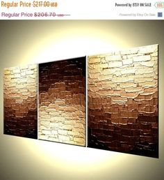 Abstract Gold Painting Original Palette Knife Art Mini