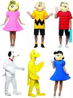 Set of 5 includesCharlie BrownLinusSnoopyWoodstockLucy  sc 1 st  Pinterest & Coolest Homemade Peanuts Cartoon Costumes - Awesome Group Costume ...