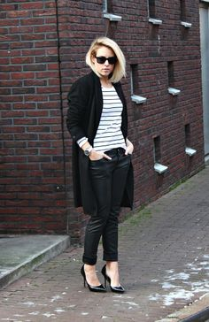 Style...Lian // FashionHoax | creators of desire // casual style all black and stripes