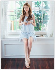 Chlo.D.Manon - Set: Sleeveless Fringed Lace Dress with Sash + Tank Dress