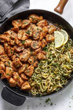 Garlic Butter Chicken Bites with Lemon Zucchini Noodles - They're so juicy, tender, and delicious you'll eat them hot right off the pan! Ready for a new chicken dinner winner? yummy dinner foodies Garlic Butter Chicken Bites with Lemon Zucchini Noodles Lemon Zucchini, Garlic Butter Chicken, Chicken And Butter Noodles Recipe, Lemon Chicken Recipes, Easy Recipes With Chicken, Recipes With Lemon, Dinner Ideas With Chicken, Garlic Butter Noodles, Chicken Broth Recipes