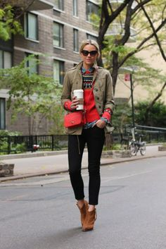 Black skinnies with brown booties.