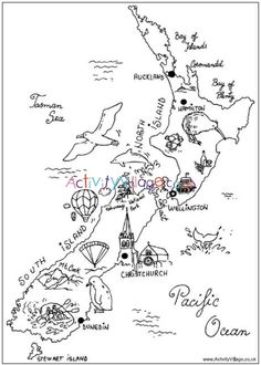 New Zealand Colouring Map Print this fun colouring map of New Zealand's islands with landmarks, animals and birds marked on it. Maori Tattoos, Irezumi Tattoos, Key Tattoos, Skull Tattoos, Foot Tattoos, Sleeve Tattoos, Map Of New Zealand, New Zealand Travel, New Zealand Symbols