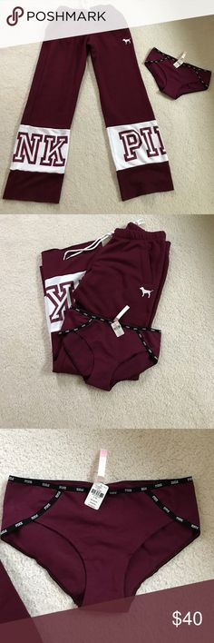 NWT Victoria's Secret pink boyfriend pant + panty! Brand new boyfriend fit pants in burgundy with white size S.  Runs fairly roomy.  Also including one brand new PINK low rise hipster panty in Large.  Both never worn. Pants are regular price $49.95 and underwear $10.50. PINK Victoria's Secret Pants