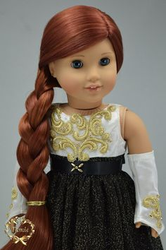 Handcrafted 18 inch girl doll clothes - Luxury Formal full length dress, OOAK(3 pieces- Dress, Formal gloves, & Separated underskirt)