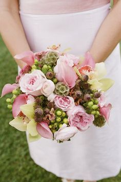 Pink Green Country Wedding -  Bouquet,  Bridesmaid Bouquet
