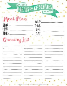 Free Printable Weekly Menu And Shopping List  Trips Shopping And