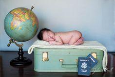 Newborn photography, suitcase, globe, travel