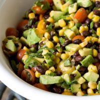Black Bean and Corn Salsa: 1 -19 oz can black beans,rinsed and drained,1/2 C red onion,chopped/ 1 Tbsp cilantro,chopped/1 Tbsp jalapeño pepper,diced/1 Tbsp lime juice/1/4 tsp cumin/1/4 tsp chili powder/1 large tomato, chopped/1 clove garlic, 1 -12 oz can corn, sea salt & fresh ground pepper to taste/avocado slices or chunks.Mix