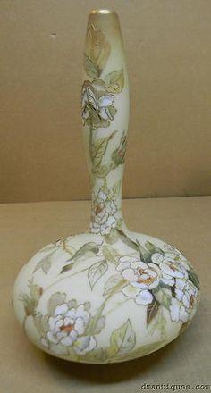 Antique MT Washington Art Glass Crown Milano Vase Handpainted Rose Flowers 1890 | eBay