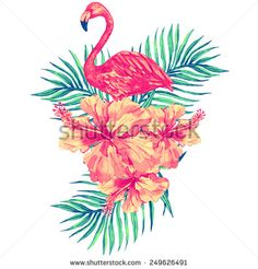 Beautiful vector tropical jungle floral illustration with watercolor pink flamingo, tropical flowers and palm leaves, hibiscus
