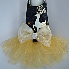 Gold Reindeer Christmas Tutu Harness Dog Dress by KOCouture